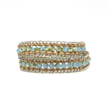 Opalesque Beaded Wrap Bracelet