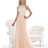 Morrell Maxie 14770 Blush Pink Lace Overlay Dress 2015 Prom Dresses