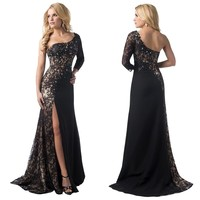 Rong Store Evening Dresses One Shoulder Long Sleeve Split Prom Party Gowns, Black, 10