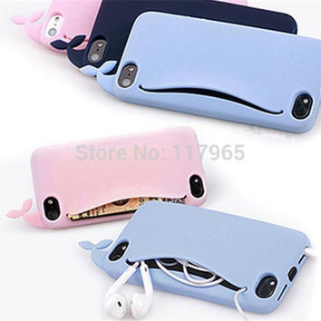 Hot Cute Lovely Big Mouth Whale Rubber Card Holder Soft antiknock Case Cover For Apple iPhone 4 4S 5 5S case EC115 EC116