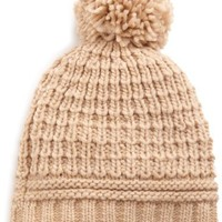 Echo Design Women's Icelandic Patchwork Texture Pom Hat, Camel Heather, One Size