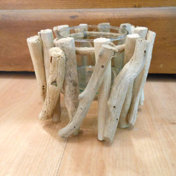 Driftwood Candle Holder by LiveCoastal on Etsy