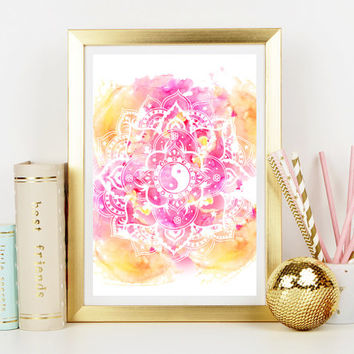 Watercolour Mandala Art Print - Home Decor - Wall Art - Art Print - Mandala - Illustration - Watercolor