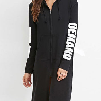 Black Hooded Drawstring Zipper Letter Printed Sweatshirt Dress