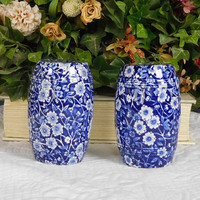 Cobalt Blue Vintage Floral Blue Chintz Calico English Transferware Barrel Salt and Pepper Shakers Extra Large Cottage Chic