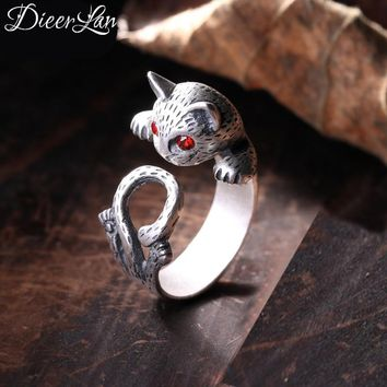 New Arrivals 925 Sterling Silver Lovely Cat Rings for Women Adjustable Size Open Kitty Ring Fashion sterling-silver-jewelry