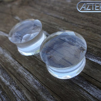 Clear FACETED GLASS PLUGS - Double Flare Design -1 New Pair- Size 0 gauge or 1/2""