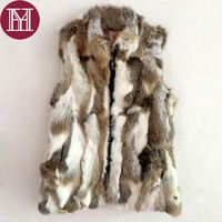 2017 Brand Women real rabbit fur vest zipper winter warm natural fur outerwear for lady fashion fur coat jacket
