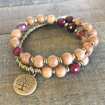 Sandalwood and Faceted Mookaite 27 Bead Mala Wrap Bracelet