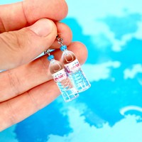 Evian Water Earrings