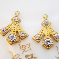 Art Deco Brass Stamping with Crystal Clear Swarovski Rhinestones Drop Dangle - 2