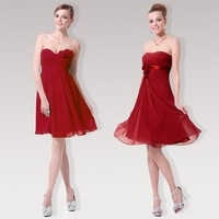 XDIAN Bride/Bridesmaid Cocktail Tube Top Women's Flowers Red Short Evening Dress - DinoDirect.com