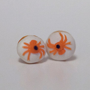 Kawaii Cute Miniature Food Earrings - Halloween Mini Spider Donuts