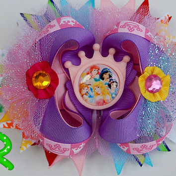 Princess ott bow, Disney hair bow pink ribbon  bow for girls,stacked boutique bow, pink crown