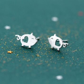 MloveAcc 925 Sterling Silver Heart Hollow Cute Pig Animal Stud Earrings for Women Girls Gift Fashion Jewelry Silver Earrings