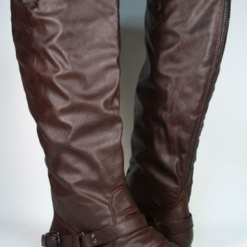 NEW Women's Zipper Military Low Flat Heel Buckle Riding Knee High Boot Shoes