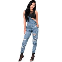 Hollow Out Denim Overalls
