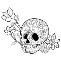 Day of the Dead Sugar Skull with Flower Wall Decal. #1179