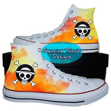 Custom Converse, One Piece, One Piece shoes, Anime shoes, Custom chucks, painted shoes