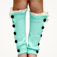 Little Girls Button-down Leg Warmers - Mint