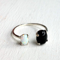 Dual Stone Ring- Sterling with Opal and Onyx