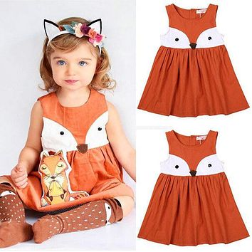 1-5Y Casual Baby Girls Toddler Kids Fox Sleeveless Dress Formal Party Wedding Tutu Dresses