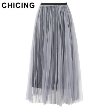 CHICING Women 2016 Pleated Maxi Tulle Mesh Skirts Autumn High Waist Swing Dolly Fashion Ladies Style Saia Femininas A1609019