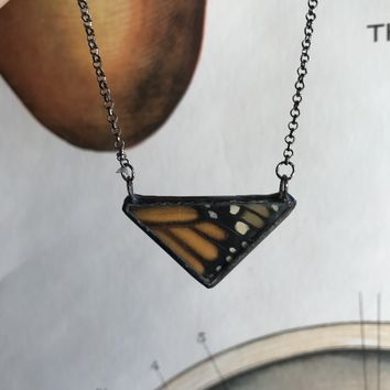 Small Monarch Butterfly Triangle Necklace