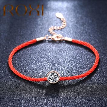 ROXI Austrian Crystals Charm Bracelets for Women Thin Red Thread String Rope Fashion Trendy Bracelet Bangles Jewelry Pulseras
