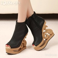 iOffer: New wood heel carving wedge heel open toe pump boots  for sale