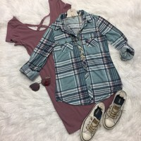 Penny Plaid Flannel Top: Ocean/Plum