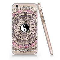 Floral Yin Yang Clear Plastic Phone Case for Iphone 6