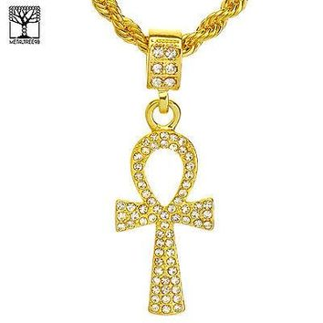 "Jewelry Kay style Men's Hip Hop Iced Out Egyptian Ankh Cross Pendant 22"" Rope Chain Set HC 1114 G"