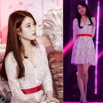 Hot sale Water soluble lace show thin white v-neck 7 points sleeve dress send belt