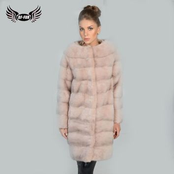 BFFUR 2018 New Real Mink Fur Coat Plus Size Clothes Mink Coats For Women Winter Sale Genuine Fur Natural Slim O-Neck Full Pelt