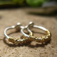 Little Hoop Earrings Tangled Silver with Gold