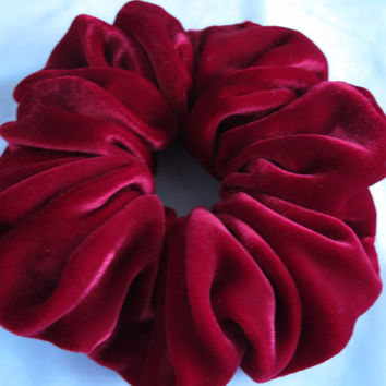 Free shipping silk hair scrunchie. Hypoallergenic hair accessories. Deep red silk velvet hair scrunchie. Red velvet scrunchie.