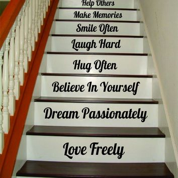 Count Your Blessings Stairs Quote Wall Decal Sticker Room Art Vinyl Family Peace Happy Home House Staircase Dream Inspire Dance Smile