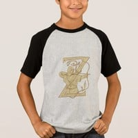 Medieval Archer Aiming Bow and Arrow Letter Z Draw T-Shirt