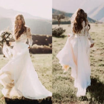 Long Sleeves Flowy Chiffon Lace Boho Wedding Dresses Country Bridal Gowns