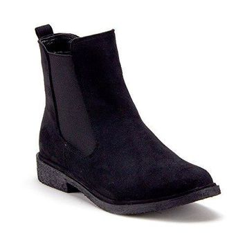 Women's Tempt-1 Menswear-Inspired Ankle High Suede Slip On Chelsea Boots