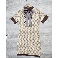 Gucci Trending Women Cute Bowknot Double G Letter Print Short Sleeve Knit Dress I12819-1