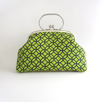 Frame Clutch bag with Handle- navy blue circle pattern in green