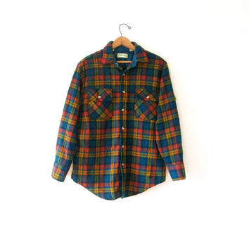 Vintage 1990s St John's Bay 100% Wool Plaid Button Down Flannel Shirt Sz L