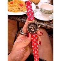 "LV ""Louis Vuitton"" Trending Women Men Stylish Quartz Machine Core Watch Wrist Watch Red I-JYXCX-YB"