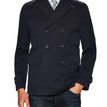 Hardy Amies Men's Woven Peacoat - Dark Blue/Navy -