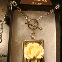 Ivory White Rose Vintage Style Book locket Necklace (1419)