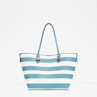 TWO-TONE STRIPED TOTE