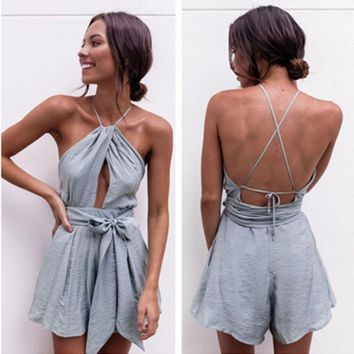 MDIGHQ9 Urban Outfitters' Fashion Sexy Sleeveless Backless Hollow Halter Waistband Romper Jumpsuit Shorts