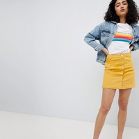 New Look Denim Button Through Skirt at asos.com